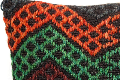 CLEARANCE 16x16 Vintage Hand Woven Kilim Pillow  504,white,orange,amber,green,blue,black,,claret red,chevron - kilimpillowstore  - 4