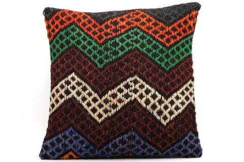 CLEARANCE 16x16 Vintage Hand Woven Kilim Pillow  504,white,orange,amber,green,blue,black,,claret red,chevron - kilimpillowstore  - 1
