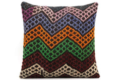 CLEARANCE 16x16 Vintage Hand Woven Kilim Pillow 506,white,orange,purple,green,blue,black,claret red,chevron - kilimpillowstore  - 1