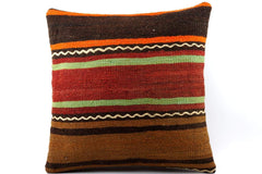 CLEARANCE 16x16 Vintage Hand Woven Kilim Pillow 527  ,orange, brown, red, black, green, terracota, chain, striped - kilimpillowstore  - 1