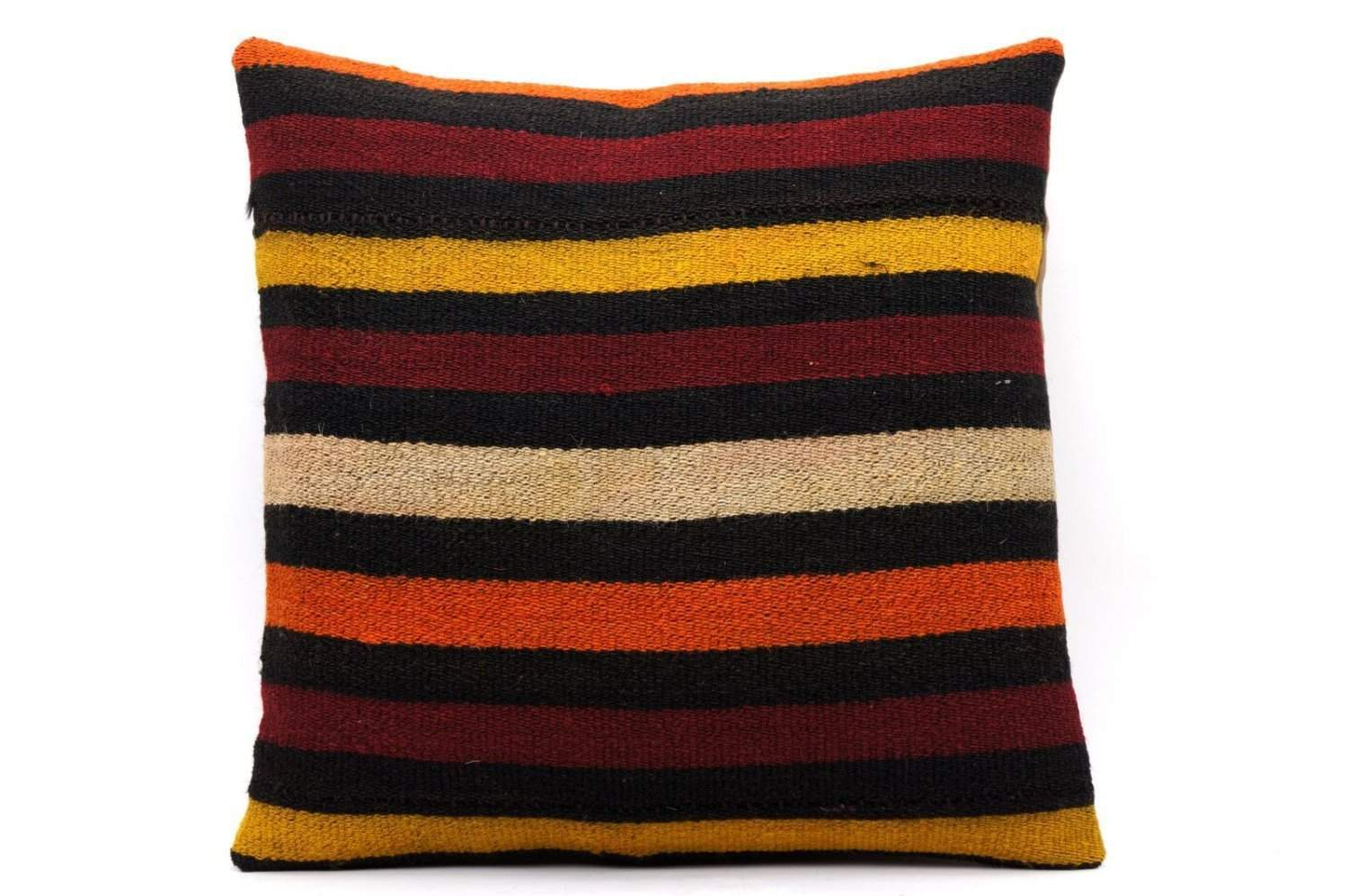 16x16 Vintage Hand Woven Kilim Pillow 547 ,black, beige, yellow,claret red, orange, striped