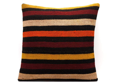 CLEARANCE 16x16 Vintage Hand Woven Kilim Pillow 550  ,black, beige, yellow,claret red, orange, striped - kilimpillowstore  - 1