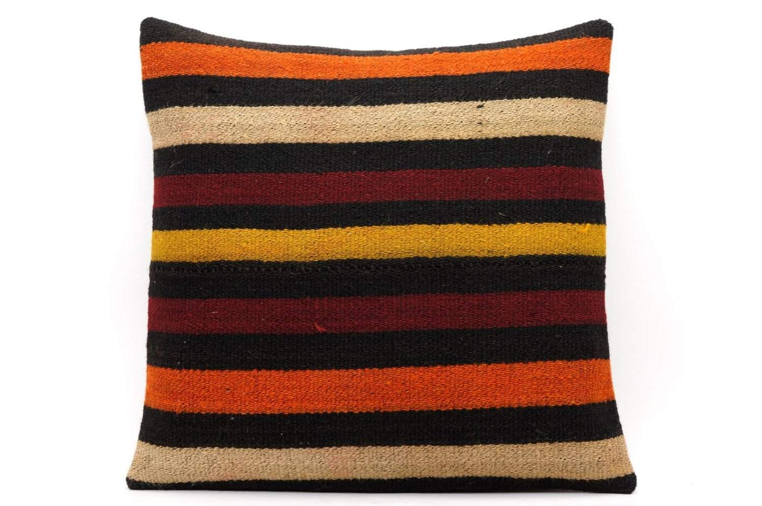 CLEARANCE 16x16 Vintage Hand Woven Kilim Pillow 553 ,black, beige, yellow,claret red, orange, striped - kilimpillowstore  - 1