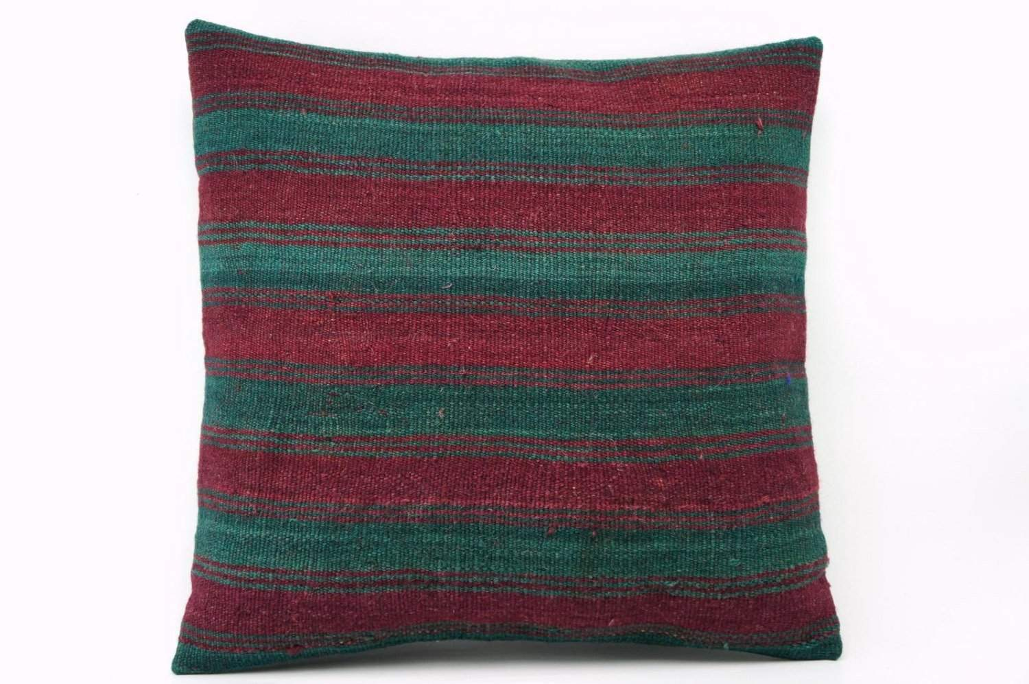 16x16 Vintage Hand Woven Kilim Pillow 569 green, teal, claret red striped