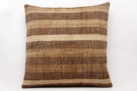 CLEARANCE 16x16 Vintage Hand Woven Kilim Pillow 597  beige, brown, cream, camel , degrade, gradient,  striped - kilimpillowstore  - 1