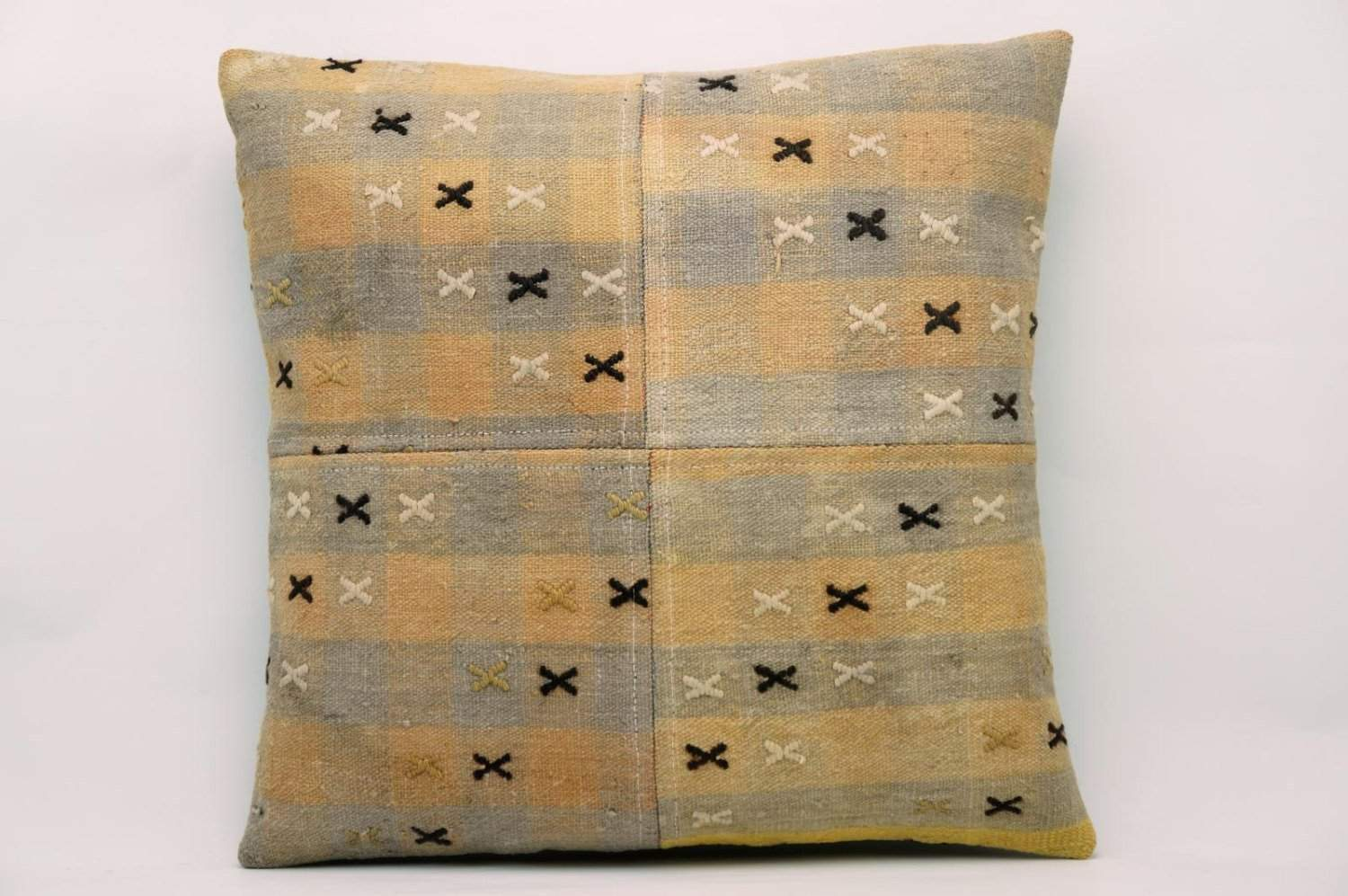 CLEARANCE 16x16 Vintage Hand Woven Kilim Pillow 624 gray, pinkish orange, checkered, cream black cross, faded