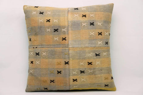 CLEARANCE 16x16 Vintage Hand Woven Kilim Pillow 624 gray, pinkish orange, checkered, cream black cross, faded - kilimpillowstore  - 1
