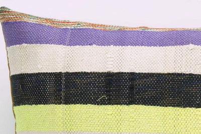 CLEARANCE 16x16 Vintage Hand Woven Kilim Pillow 817  white,yellow,green,lilac,beige,blue,pink,black,striped - kilimpillowstore  - 3