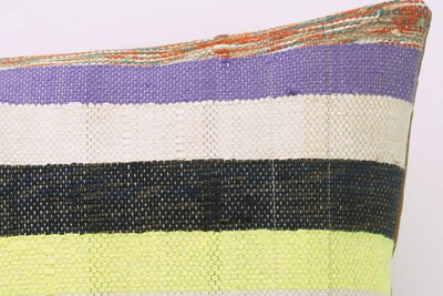 CLEARANCE 16x16 Vintage Hand Woven Kilim Pillow 817  white,yellow,green,lilac,beige,blue,pink,black,striped - kilimpillowstore  - 4