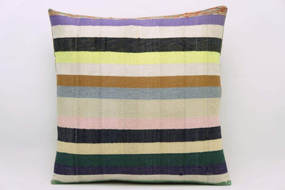 CLEARANCE 16x16 Vintage Hand Woven Kilim Pillow 817  white,yellow,green,lilac,beige,blue,pink,black,striped - kilimpillowstore  - 1