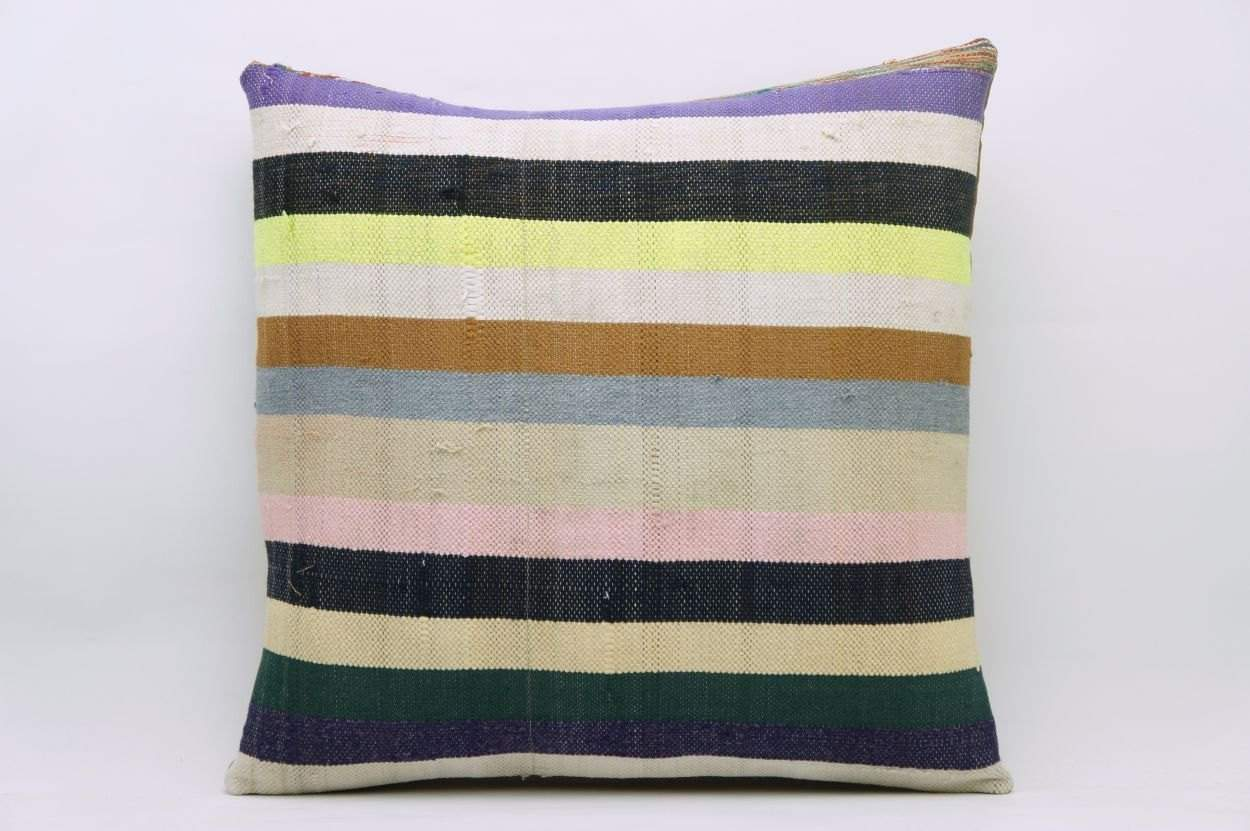 16x16 Vintage Hand Woven Kilim Pillow 828 white,yellow,pink,dark green,lilac,beige,navy blue,black,striped