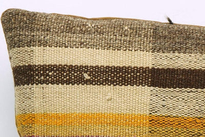 CLEARANCE 16x16 Vintage Hand Woven Kilim Pillow 843  brown beige plaid amber striped sham - kilimpillowstore  - 2