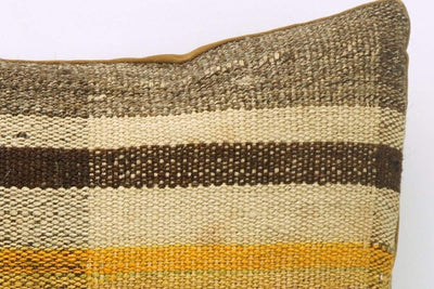 CLEARANCE 16x16 Vintage Hand Woven Kilim Pillow 843  brown beige plaid amber striped sham - kilimpillowstore  - 3