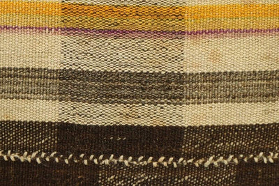 CLEARANCE 16x16 Vintage Hand Woven Kilim Pillow 843  brown beige plaid amber striped sham - kilimpillowstore  - 4