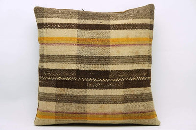 CLEARANCE 16x16 Vintage Hand Woven Kilim Pillow 843  brown beige plaid amber striped sham - kilimpillowstore  - 1