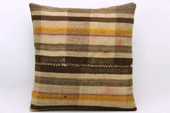 CLEARANCE 16x16 Vintage Hand Woven Kilim Pillow 859  plaid banded beige brown ivory amber yellow  pillow - kilimpillowstore  - 1