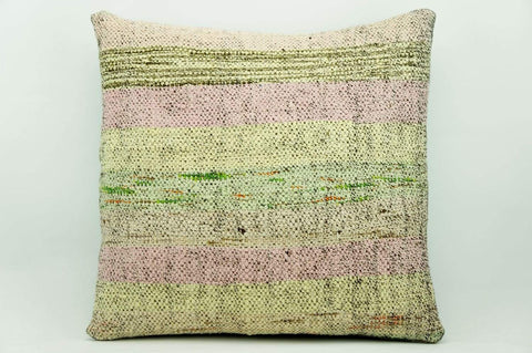 CLEARANCE 16x16 Vintage Hand Woven Kilim Pillow 921 pastel light pink green  striped colourful splashy pillow - kilimpillowstore  - 1