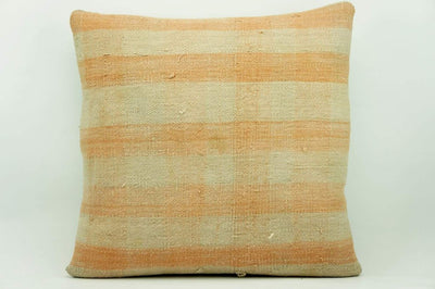 CLEARANCE 16x16 Vintage Hand Woven Kilim Pillow 943 pastel plaid pinkish greenish sham cushion pillow cover - kilimpillowstore  - 1