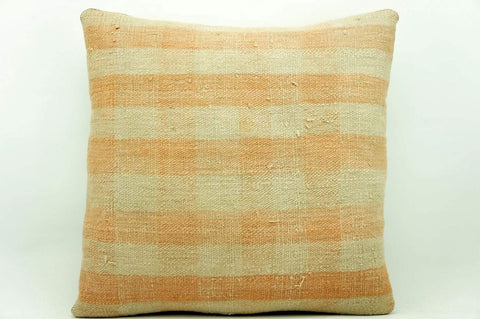 CLEARANCE 16x16 Vintage Hand Woven Kilim Pillow 945 pastel plaid pinkish greenish sham cushion pillow cover - kilimpillowstore  - 1