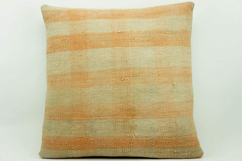CLEARANCE 16x16 Vintage Hand Woven Kilim Pillow 946 pastel plaid pinkish greenish sham cushion pillow cover - kilimpillowstore  - 1
