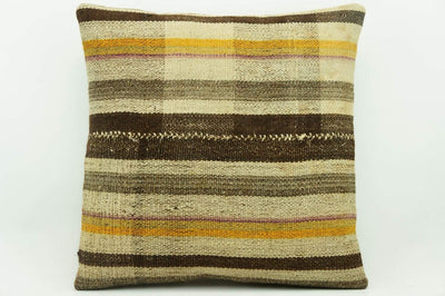 CLEARANCE 16x16 Vintage Hand Woven Kilim Pillow 947 pastel plaid orange striped beige brown  sham cushion pillow cover - kilimpillowstore  - 1