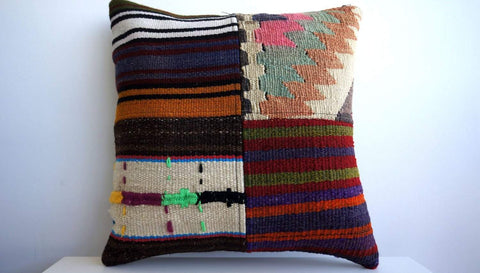 CLEARANCE 16x16 Vintage Hand Woven Turkish Kilim Pillow  - Old  Kilim Cushion 103 - kilimpillowstore  - 1