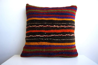 CLEARANCE 16x16 Vintage Hand Woven Turkish Kilim Pillow  - Old  Kilim Cushion 125, Red, Striped - kilimpillowstore  - 2