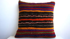 CLEARANCE 16x16 Vintage Hand Woven Turkish Kilim Pillow  - Old  Kilim Cushion 125, Red, Striped - kilimpillowstore  - 1