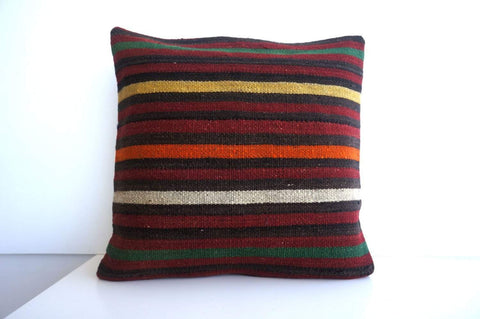 CLEARANCE 16x16 Vintage Hand Woven Turkish Kilim Pillow  - Old  Kilim Cushion 177, black ,orange,red,striped - kilimpillowstore  - 1
