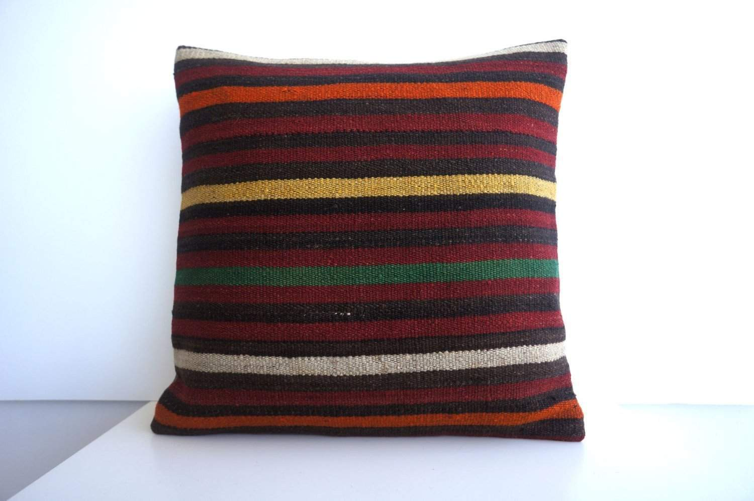 CLEARANCE 16x16 Vintage Hand Woven Turkish Kilim Pillow  - Old  Kilim Cushion 179, black ,orange,red,striped - kilimpillowstore  - 1