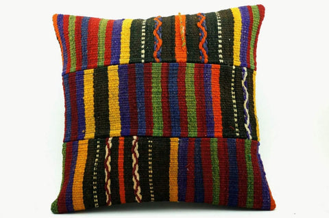 CLEARANCE 16x16 Vintage Hand Woven Turkish Kilim Pillow  - Old  Kilim Cushion 263,red,gray,blue,striped,orange,yellow,black,tribal - kilimpillowstore  - 1