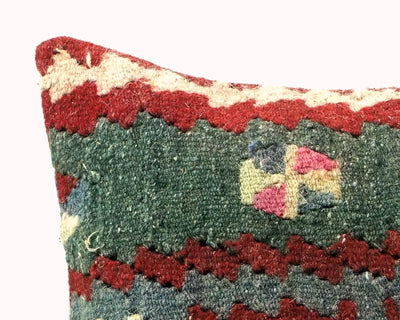 CLEARANCE 16x16 Vintage Hand Woven Turkish Kilim Pillow  - Old  Kilim Cushion 266,white,dark gray,pink,claret red,tribal - kilimpillowstore  - 3