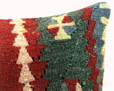 CLEARANCE 16x16 Vintage Hand Woven Turkish Kilim Pillow  - Old  Kilim Cushion 266,white,dark gray,pink,claret red,tribal - kilimpillowstore  - 4