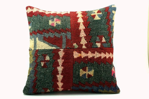CLEARANCE 16x16 Vintage Hand Woven Turkish Kilim Pillow  - Old  Kilim Cushion 266,white,dark gray,pink,claret red,tribal - kilimpillowstore  - 1