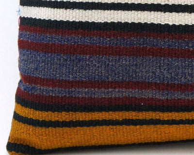 CLEARANCE 16x16 Vintage Hand Woven Turkish Kilim Pillow  - Old  Kilim Cushion 328,navy blue,green,black,amber,claret red,white ,striped - kilimpillowstore  - 2