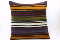 CLEARANCE 16x16 Vintage Hand Woven Turkish Kilim Pillow  - Old  Kilim Cushion 328,navy blue,green,black,amber,claret red,white ,striped - kilimpillowstore  - 1