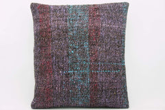 CLEARANCE 16x16 Vintage Hand Woven wool purple green red  gradient colour Kilim Pillow  cushion 1026_A Wool cushion - kilimpillowstore  - 1