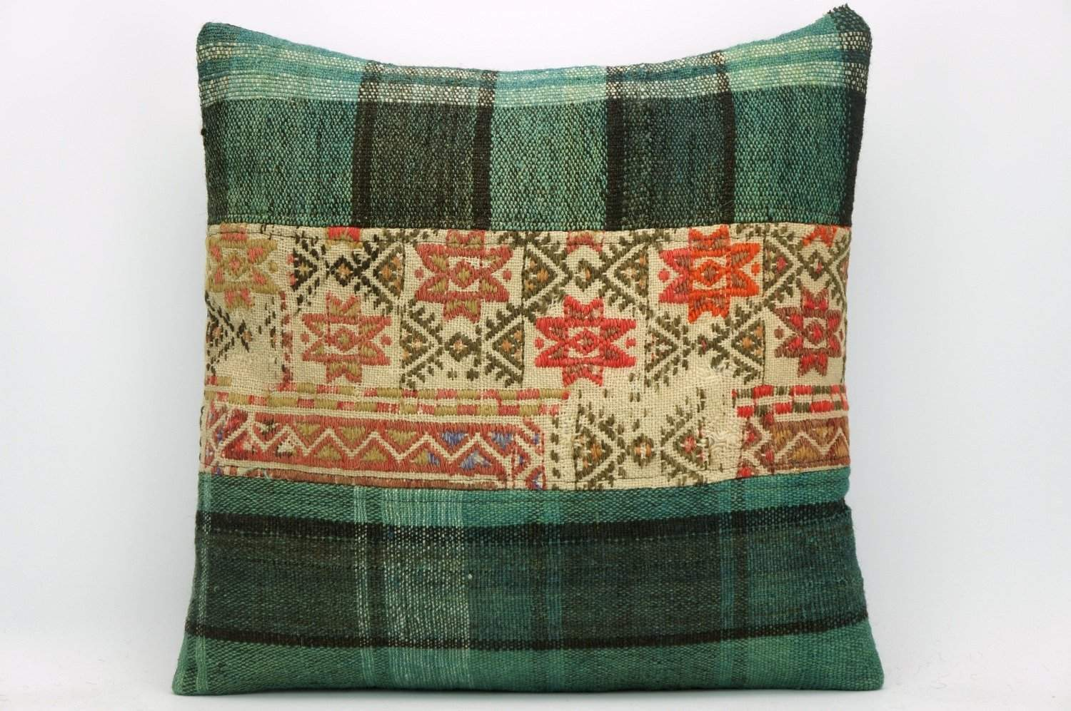 Green Kilim pillow , patchwork pillow 1465