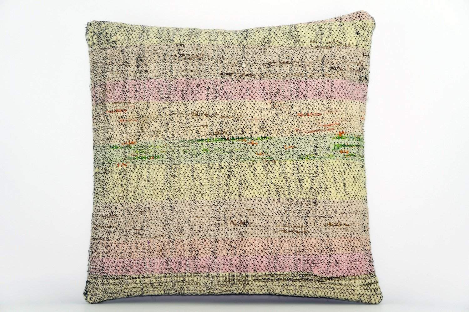 CLEARANCE Handwoven hemp pillow green pink yellow , Decorative Kilim pillow cover  1566_A - kilimpillowstore  - 1