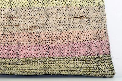 CLEARANCE Handwoven hemp pillow green pink yellow , Decorative Kilim pillow cover  1567_A - kilimpillowstore  - 4