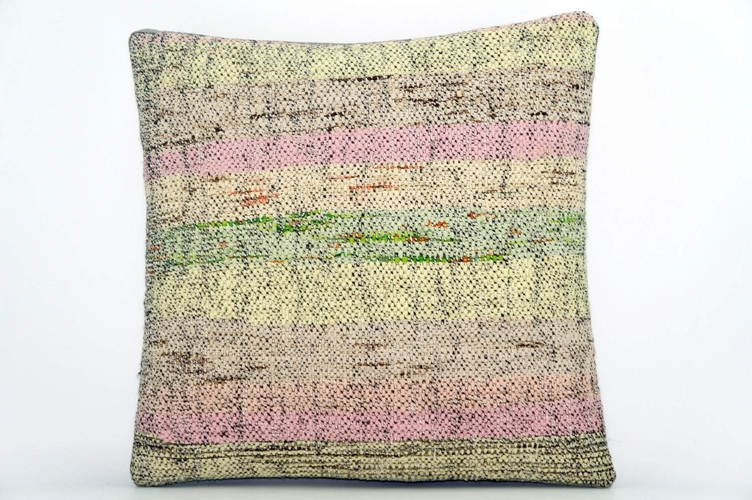 CLEARANCE Handwoven hemp pillow green pink yellow , Decorative Kilim pillow cover  1567_A - kilimpillowstore  - 1