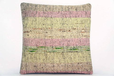 CLEARANCE Handwoven hemp pillow green pink yellow , Decorative Kilim pillow cover  1568_A - kilimpillowstore  - 1