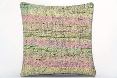 CLEARANCE Handwoven hemp pillow green pink yellow , Decorative Kilim pillow cover  1569_A - kilimpillowstore  - 1