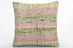 CLEARANCE Handwoven hemp pillow green pink yellow , Decorative Kilim pillow cover  1570_A - kilimpillowstore  - 1