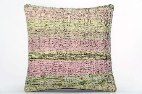 CLEARANCE Handwoven hemp pillow green pink yellow , Decorative Kilim pillow cover  1574_A - kilimpillowstore  - 1