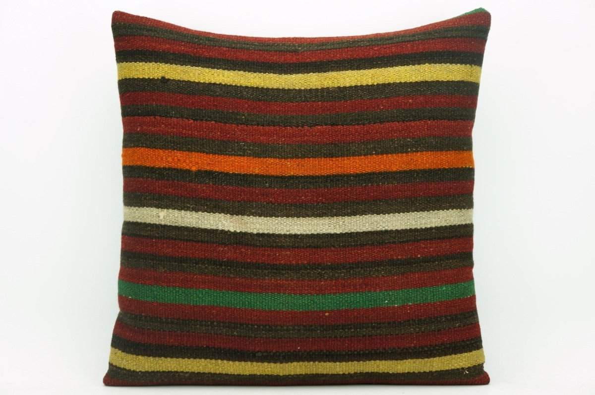 CLEARANCE Pillow cover striped , Decorative Kilim pillowcase , 16x16 pillow   1422 - kilimpillowstore  - 1