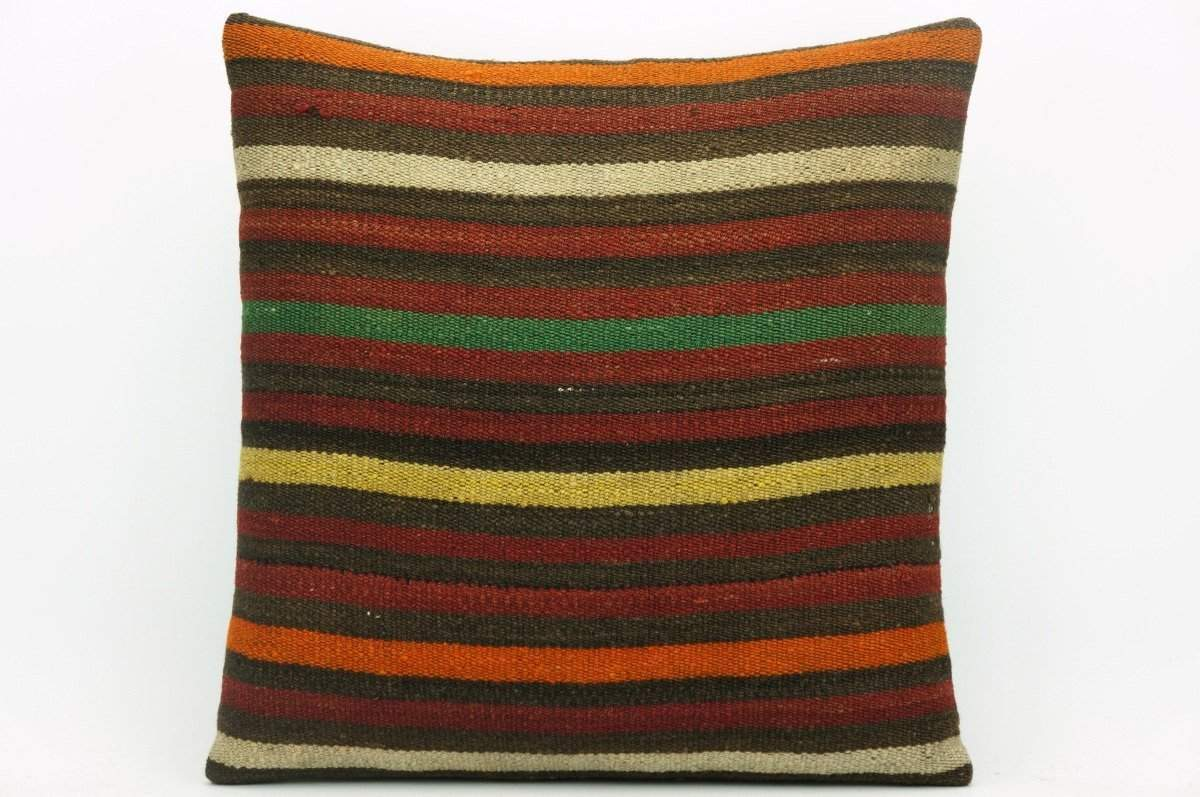 CLEARANCE Striped decorative pillow cover, Kilim cushion cover , 16x16 pillow   1416 - kilimpillowstore  - 1