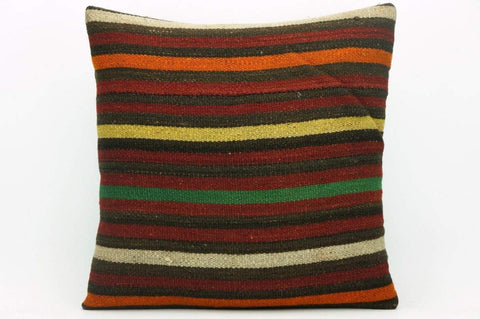 CLEARANCE Striped decorative pillow cover , Turkish Kilim pillowcase , 16x16 pillow   1424 - kilimpillowstore  - 1
