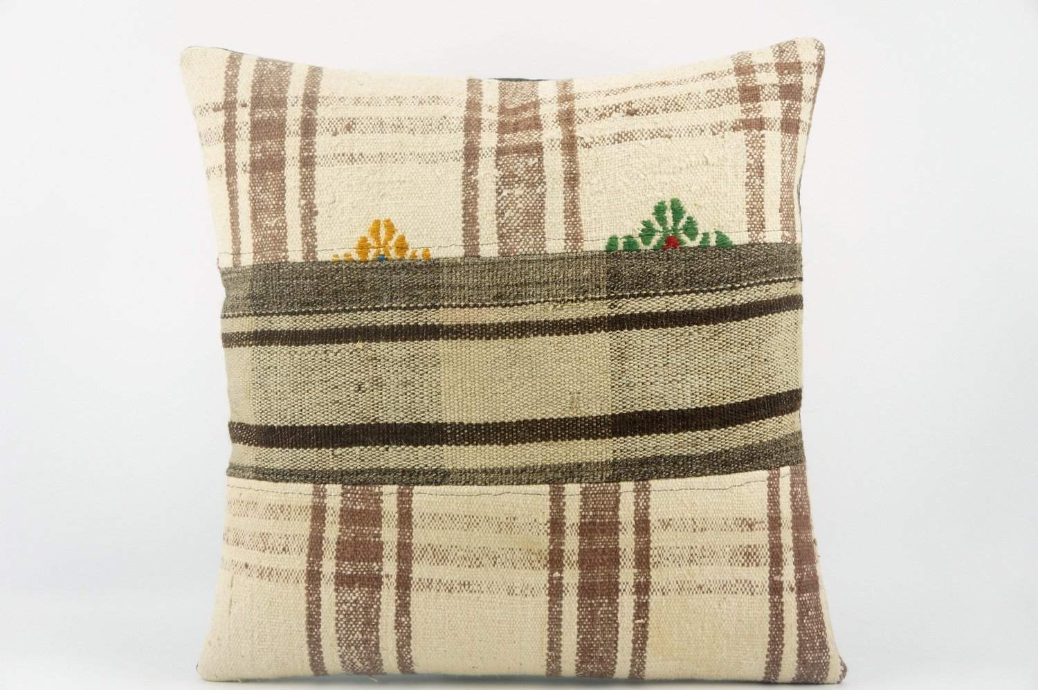 Striped Kilim pillow , Beige patchwork pillow 1485