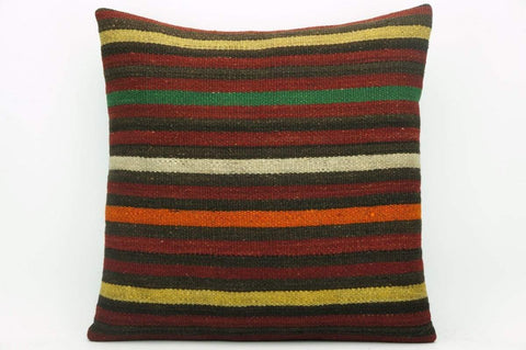 CLEARANCE Striped kilim pillow cover , Old kilim pillow, 16x16 kilim pillow  1413 - kilimpillowstore  - 1